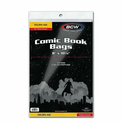 100 BCW Poly Bags For Golden Age Thick Comic Books 2 Mil Acid Free Safe Storage