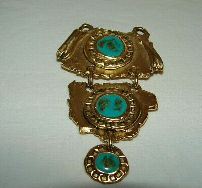 Vintage Large Egyptian Revival Brooch Pendant Faux Turquoise