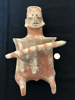Pre-Columbian Jalisco Seated Warrior Figure, 100 BC - 250 AD,  NICE!