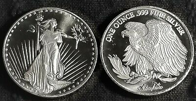 1 Troy oz .999 Fine Silver (Liberty Front - Eagle Reverse)