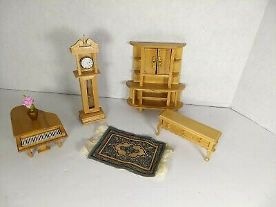 Minature dollhouse furniture Grand Piano Buffet Grandfather Clock Oriental Rug