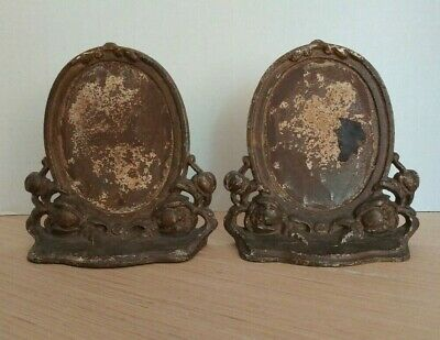 Antique Cast Iron Bookends Mantle Photo Frames heavy metal marked unknown set /2