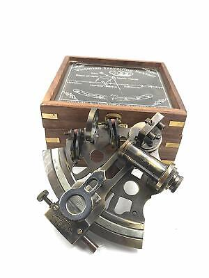"Sextant Instrument Real Heavy Sextant with Wooden Box | ""Kelvin & Huges"" Sextant"