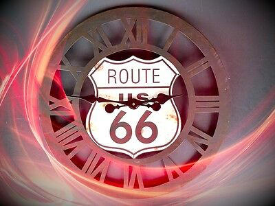 Wall Clock Iron round Open Gift Vintage Aesthetics Rarity Route 66 Stimewitness