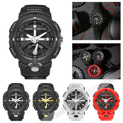 AU SMAEL Mens Sport Watch Military Watches LED Quartz Dual Display Wristwatch