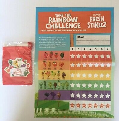 * COLES FRESH STIKEEZ COLLECTOR BAG Red Pouch Sack + BONUS Wall Poster - NEW