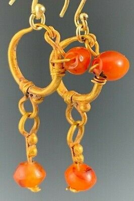 Ancient Roman Gold Earrings W/ Ancient Carnelian Stone Dangles! Wearable!