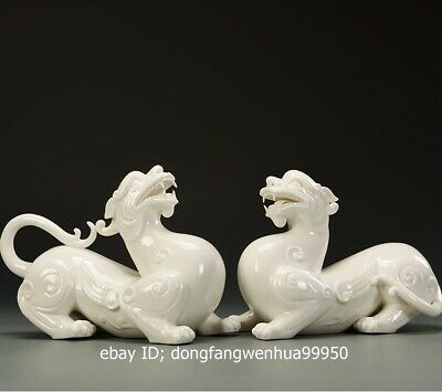 Dehua White Porcelain Handwork Wealth Animal Brave Troops Beast Statue Pair