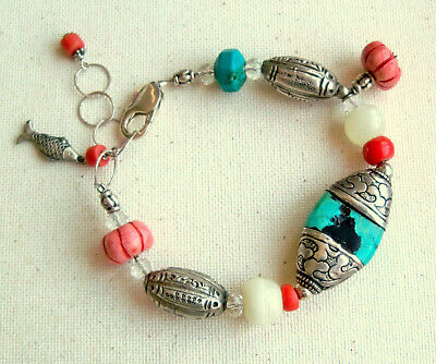 Vintage Bracelet Sterling Silver Beaded Antique Beads Coral Turquoise Fish Charm