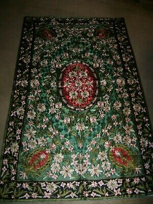 "Hand Stitched Rug/Wall Hanging Red/Green Floral...35"" x 58"" Very Heavy"