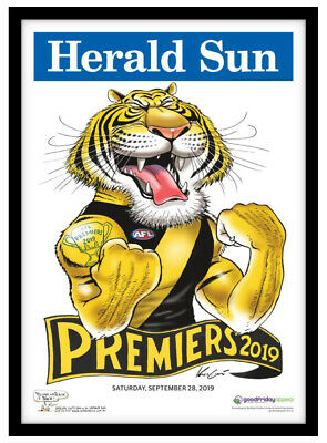 2019 Afl Premiers Richmond Tigers Gws Grand Final Mark Knight Weg Presale Framed