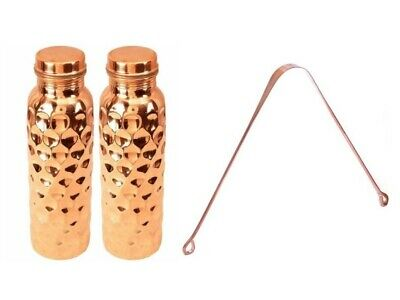 Pure Copper Diamond Pattern Hammered Water Bottle 950ml Capacity Tableware