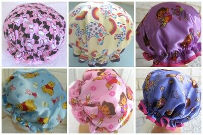 CHILD  Hand made Shower cap, WATER PROOF SELECT FROM 6 CHILDRENS THEMES