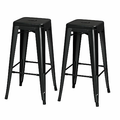 30'' Bar Height Stool Indoor Outdoor Square Seat Top Metal Chair Set of 2 Black