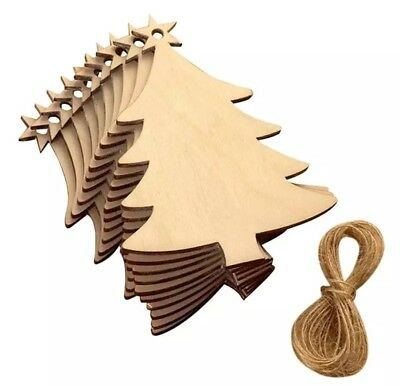 10 Wooden Christmas Tree Gift Tags/Hanging Decorations-Xmas Blank/Plain Shapes
