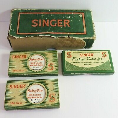 Vintage 14 pc Singer Sewing Machine Fashion Discs Swing Needle Machine 306 Class