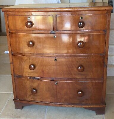 "Attractive Victorian Mahogany ""splitter"" Bow Front Chest Of Drawers"