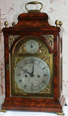 George III Quarter Striking Mahogany Bracket Clock 1770 By J Hawthorn Newcastle