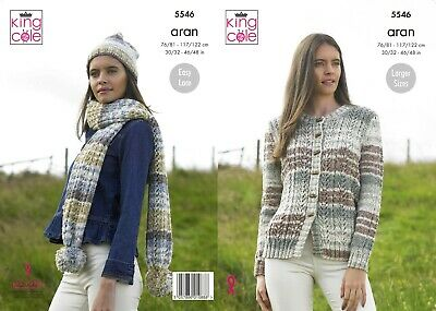 Womens Double Knitting Pattern Ladies Sweater Scarf /& Hat King Cole DK 5392