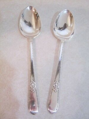 2 pcs 1847 Rogers Bros IS Adoration Tablespoons Serving Spoons Silverplate