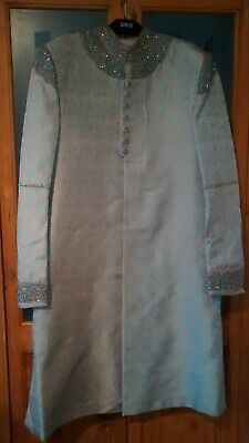 Mens Designer Groom Wedding Special Occasion Sherwani Gold Pale Green Size M 42""