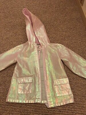 Girls River Island  Shiny Pink Waterproof Jacket With Hoodie Size 3-4 Years