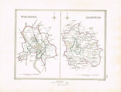 Worcester Droitwich Worcestershire Old Antique Town Plan Map Print c.1835