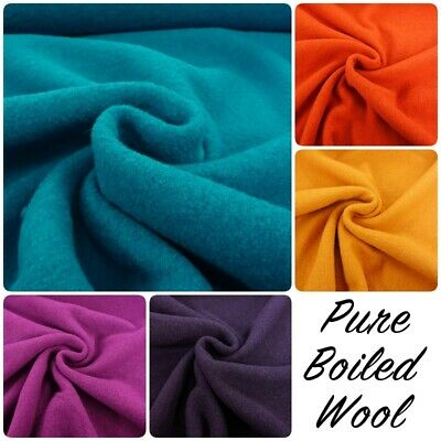 BOILED WOOL Bright Textured Plain 100% Wool Warm Winter Dressmaking Fabric