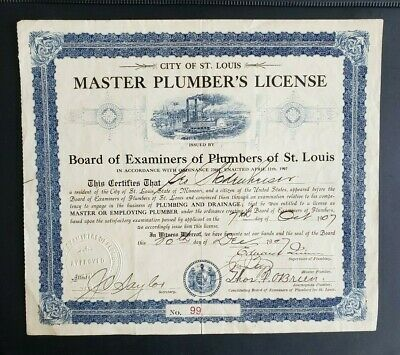 US city of St Louis Master Plumber's License 1907