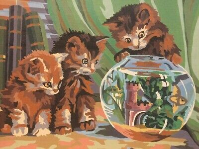 2 Vintage Palmer Paint By Numbers Paintings Fluffy Kittens