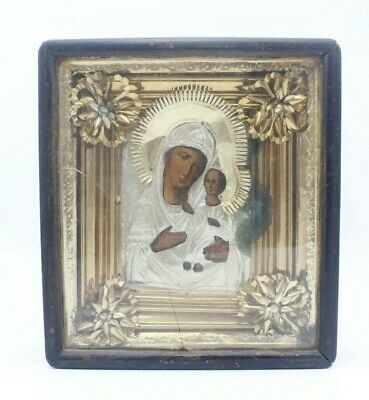 Antique 19c Russian Wood Hand Painted Icon Mother of God in Kiot Icon Box