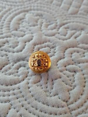 Small Vintage Chanel cc Gold Tone Button Quilt Pattern SIGNED