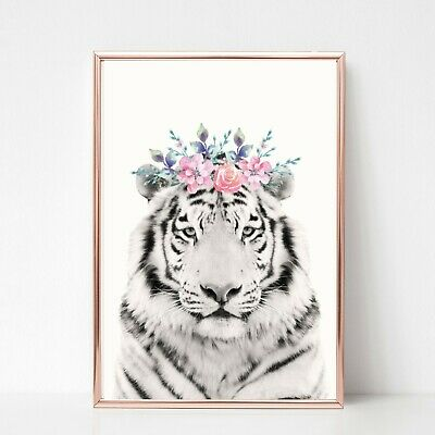 TIGER print PICTURE  FLOWER GARLAND WALL ART A4  unframed 25 ANIMAL PORTRAIT