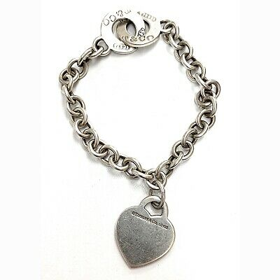 Tiffany & Co. Sterling Silver Heart Tag 1837 Round Double Toggle Clasp Bracelet