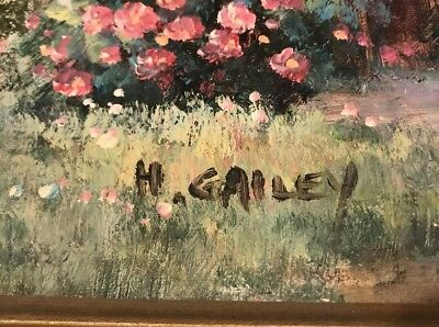 Signed H. GAILEY  oil painting 29x25 Country Villa