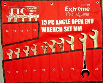 Metric Open End 4-Way Angle Wrench Set 10 to 24mm Extreme Torque w/ Canvas Wrap