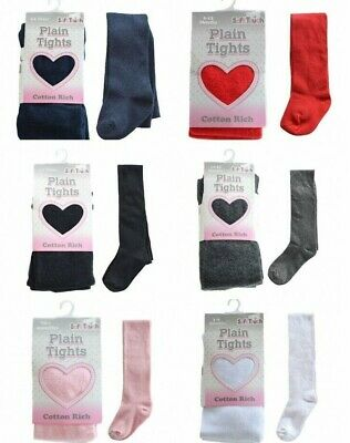 Brand New Girls Plain Cotton Rich Tights Size 11-12 Years