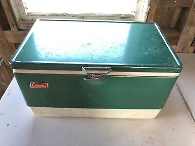 Vintage Metal Coleman Green & White Ice Chest Cooler w/ 2 Bottle Openers