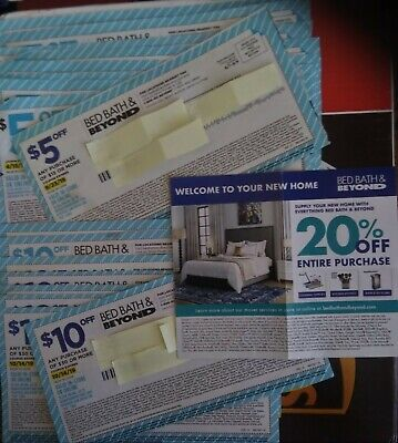 Lot Of 27 Bed Bath Beyond $5 Off, $10 Off, $20 Off +20% Off Entire Purchase Now