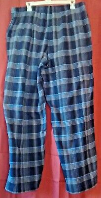 Croft & Barrow Blue Flannel Sleep Lounge Pants w/ Drawstring Waist Sz XL