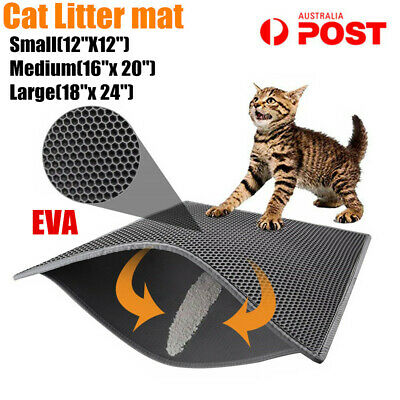 Cat Litter Trapping Mat Double-Layer Honeycomb Design Foldable Tray Trap Pad AP