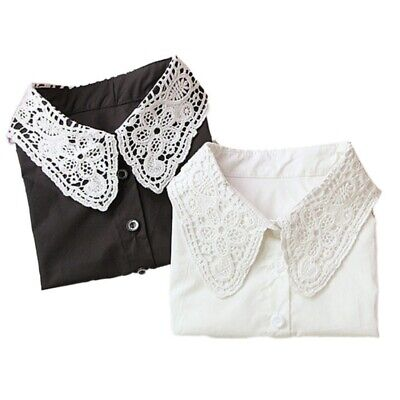 UK Women Vintage Dickie Ladies Embroidery Lace Fashion Detachable False Collar
