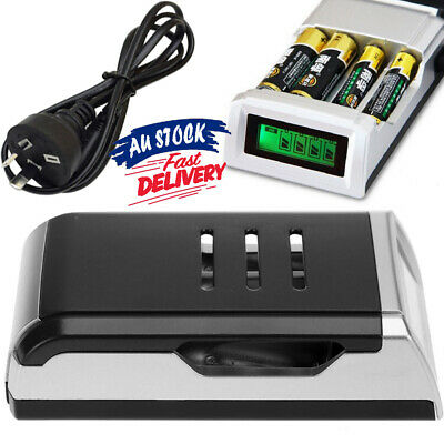 4 Slots for AA /AAA NiCd NiMh With LCD Charger Rechargeable Battery AZ Digital