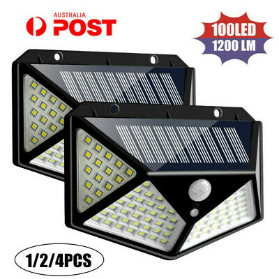 100 LED Solar Power PIR Motion Sensor Wall Light Outdoor Garden Lamps Waterproof