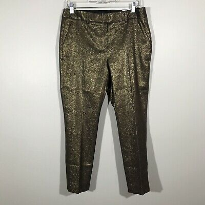 NWT White House Black Market The Slim Ankle Gold Metallic Pants 8P MSRP $89