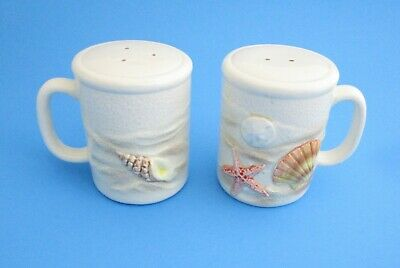 Vintage Otagiri Handcrafted Japan Salt and Pepper Shakers with Seashell Pattern