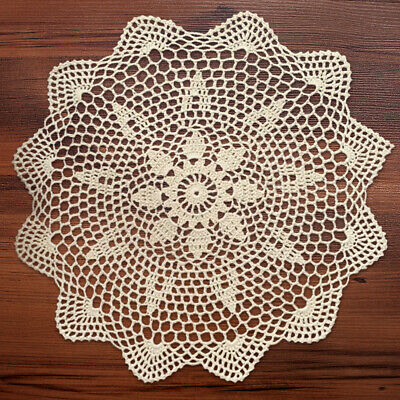 Vintage Handmade Crochet Lace Doily Round Table Mat Coaster Tablecloth 35-40cm