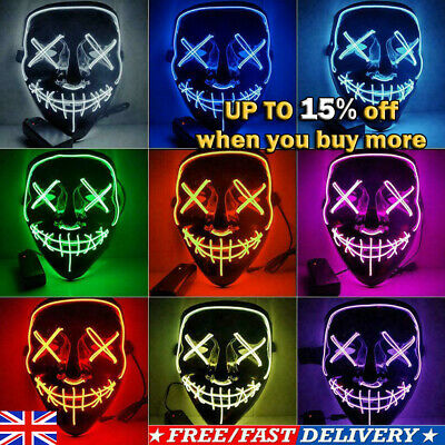 Light Up LED Stitches Masks Costume Halloween Rave Cosplay Purge Party Clubbing