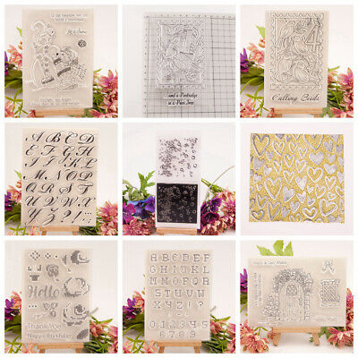 Transparent Clear Silicone Rubber Stamp Cling Diary Xmas Scrapbooking DIY DH