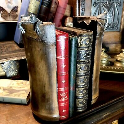 Vintage Stunning real Large bamboo bookends with peeping pewter frogs.